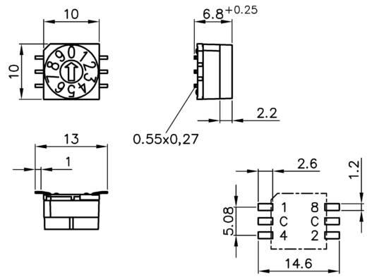 Hartmann P65SMT 101 Codeerschakelaar BCD 0-9 Schakelposities 10 1 stuks