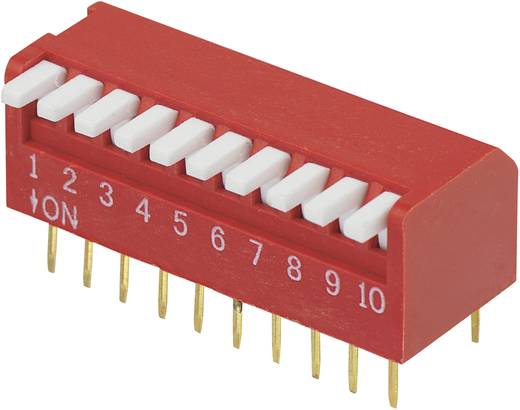 Conrad Components DP-10 DIP-schakelaar Aantal polen 10 Piano-type 1 stuks
