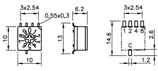 Hartmann P60AS 703 Codeerschakelaar Hexadecimaal 0-9/A-F Schakelposities 16 1 stuks