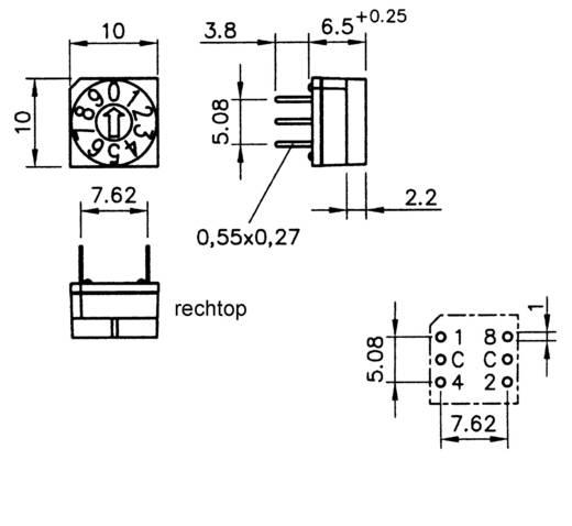 Hartmann HEX.CODIERSCH.M.STECKACHSE Codeerschakelaar Hexadecimaal 0-9/A-F Schakelposities 16 1 stuks