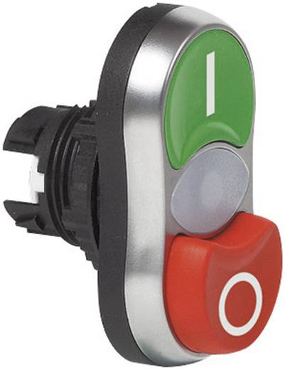 BACO L61QK21 Dubbele drukknop Kunststof frontring, Verchroomd Groen, Rood 1 stuks