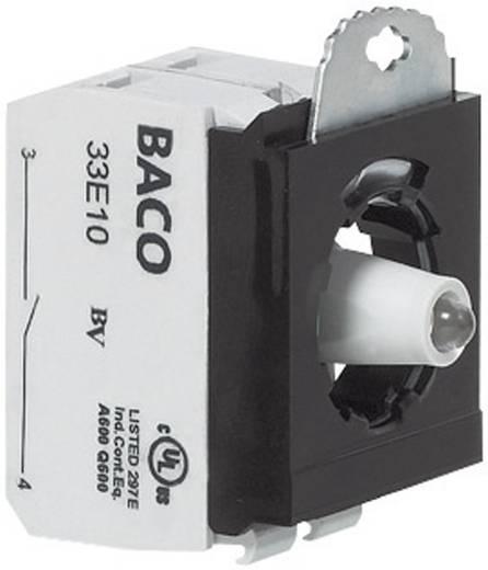 Contact element, LED-element Met bevestigingsadapter 1x NC, 1x NO Wit schakelend 230 V BACO 333ERAWH11 1 stuks