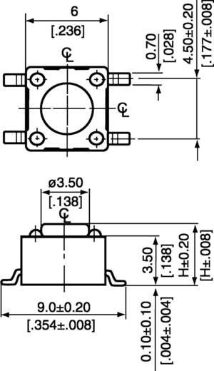 Diptronics DTSM-65N-V-B Druktoets 12 V/DC 0.05 A 1x uit/(aan) schakelend 1 stuks