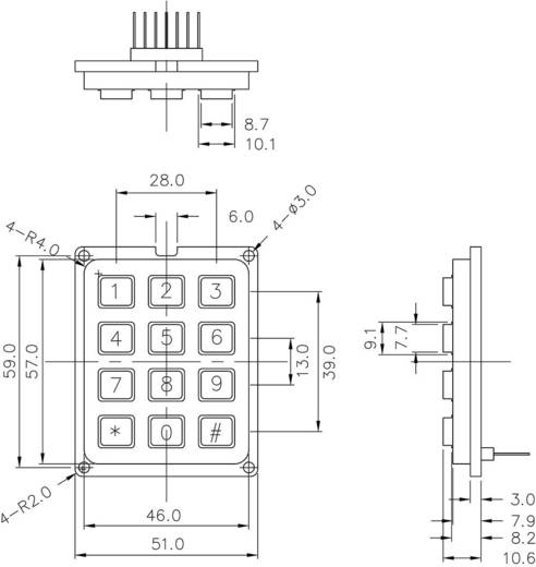 Druktoetsenveld Keypad matrix 3 x 4 1 stuks