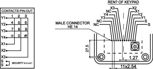 EAO Secme S 12 150 141 Druktoetsenveld Keypad matrix 3 x 4 1 stuks