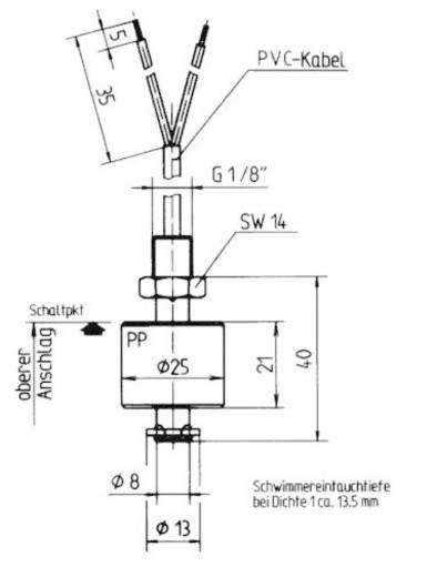 Elobau 20301202 Vlotterschakelaar 48 V/AC 1 A 1x NO, 1x NC IP67 1 stuks