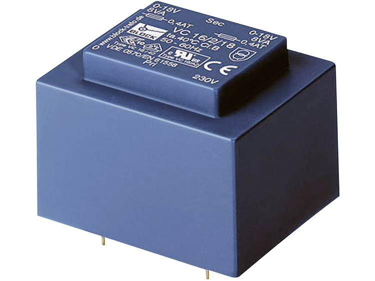 Printtransformator 1 x 230 V 2 x 24 V AC 16 VA 333 mA VC 16 2 24 Block