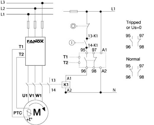 Motorbeschermingsrelais GL als volledige bescherming Fanox GL200 DIN-rail montage