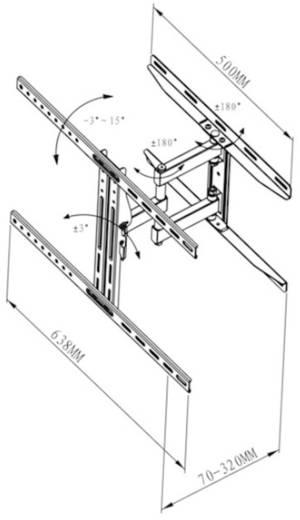 "TV-beugel Vivanco WM 5545 101,6 cm (40"") - 139,7 cm (55"") Kantelbaar en zwenkbaar, Roteerbaar"