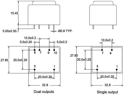 Printtransformator Primair: 230 V Secundair: 2 x 20 mA 0.6 VA BV302D15006 Zettler Magnetics