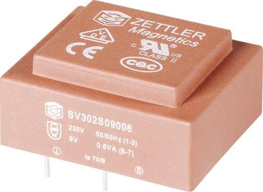 Printtransformator Primair: 230 V Secundair: 2 x 25 mA 0.6 VA BV302D12006 Zettler Magnetics