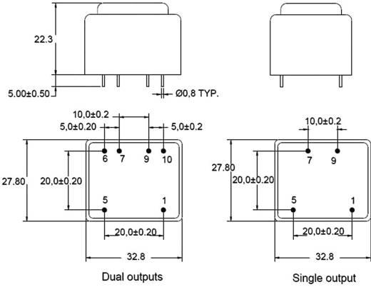 Printtransformator Primair: 230 V Secundair: 2 x 33 mA 1 VA BV302D09010 Zettler Magnetics