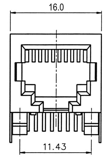 Modulaire inbouwbus Bus, inbouw horizontaal Modelbus 8 polig afgeschermd Aantal polen: 8P8C A-20042-LP/FS Zilver ASSMANN