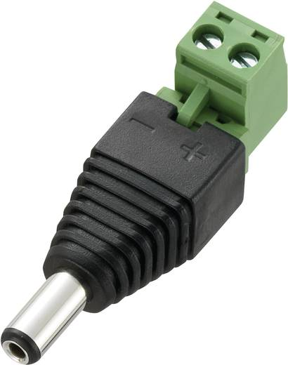 Conrad Components DC12-M Laagspannings-connector Stekker, recht 5.5 mm 2.1 mm 1 stuks