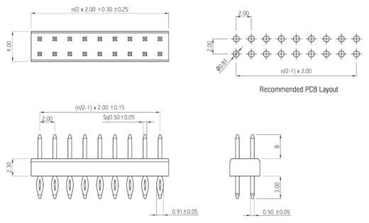 Male header (standaard) Aantal rijen: 2 Aantal polen per rij: 10 W & P Products 314PF-11-020-00 1 stuks