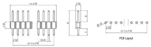 Male header (standaard) Aantal rijen: 1 Aantal polen per rij: 2 W & P Products 243-12-002-1-00 1 stuks