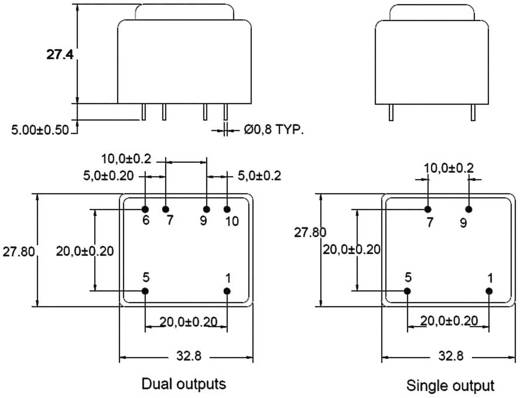 Printtransformator 1 x 230 V 2 x 6 V/AC 2 VA