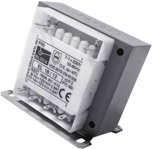 Block EL 18/12 Stuurtransformator, Scheidingstransformator, Veiligheidstransformator 2 x 230 V 2 x 12 V/AC 18 VA 750 mA