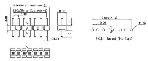 Male header (standaard) Aantal rijen: 1 Aantal polen per rij: 2 W & P Products 981-10-02-1-50 1 stuks