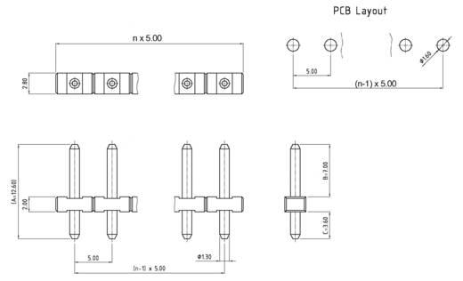 Male header, inbouw (precisie) Aantal rijen: 1 Aantal polen per rij: 2 W & P Products 823-02-5-1-1 1 stuks