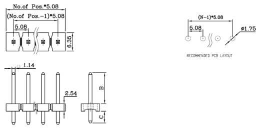 Male header (standaard) Aantal rijen: 1 Aantal polen per rij: 16 W & P Products 985-10-16-1-50 1 stuks