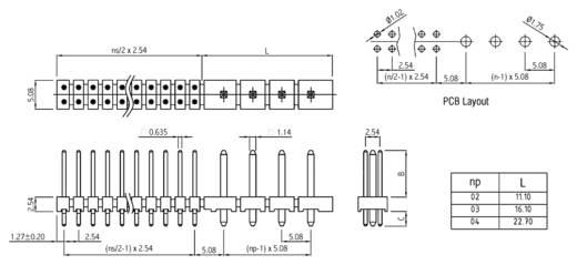 Male header (standaard) Aantal rijen: 2 Aantal polen per rij: 12 W & P Products 987-24-04-10-00 1 stuks