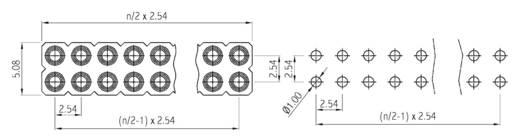 Female header (precisie) Aantal rijen: 2 Aantal polen per rij: 3 W & P Products 153PF-006-2-50-00 1 stuks
