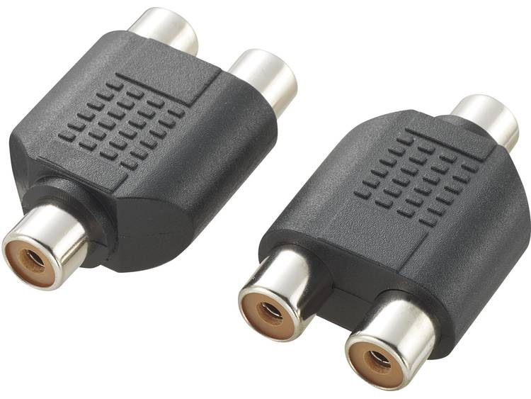 Cinch Audio Y-adapter [1x Cinch-koppeling 2x Cinch-koppeling] Zwart