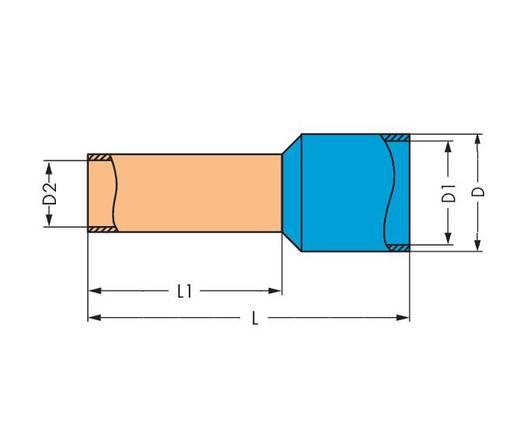 WAGO 216-287 Adereindhulzen 1 x 4 mm² x 20 mm Deels geïsoleerd Grijs 500 stuks