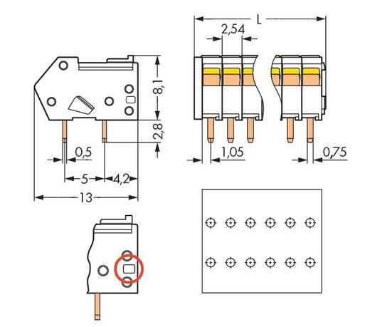Veerkachtklemblok 0.50 mm² Aantal polen 4 WAGO Zwart 500 stuks