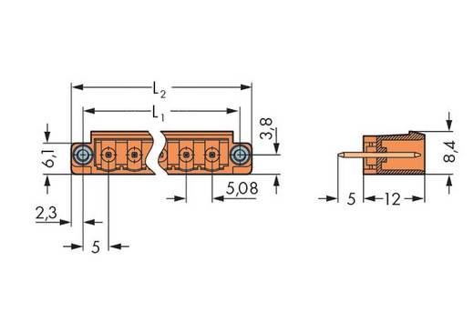 WAGO 231-366/108-000 Male header (standaard) 300 Totaal aantal polen 6 Rastermaat: 5.08 mm 100 stuks