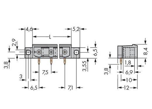 Male header (standaard) 300 Totaal aantal polen 6 WAGO 231-466/040-000 Rastermaat: 5 mm 100 stuks