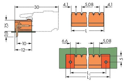 WAGO 231-564/001-000 Male header (standaard) 300 Totaal aantal polen 4 Rastermaat: 5.08 mm 200 stuks