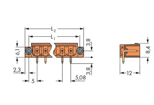 Male header (standaard) 300 Totaal aantal polen 12 WAGO 231-542/108-000 Rastermaat: 5.08 mm 100 stuks