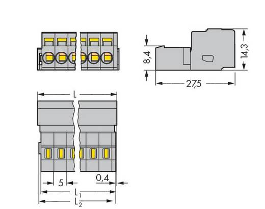 Male header (standaard) 300 Totaal aantal polen 15 WAGO 231-615 Rastermaat: 5 mm 25 stuks