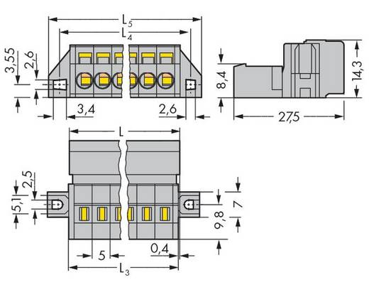 WAGO 231-605/019-000 Male header (standaard) 300 Totaal aantal polen 5 Rastermaat: 5 mm 50 stuks