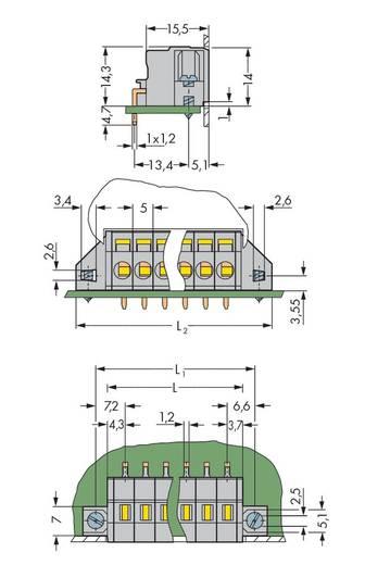 Veerkachtklemblok Aantal polen 11 FEEDTHRU W/FIXING FL-5MM WAGO Grijs 25 stuks