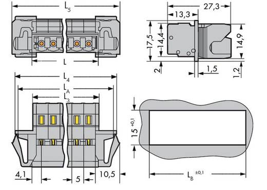 WAGO 231-609/114-000 Male header (standaard) 300 Totaal aantal polen 9 Rastermaat: 5 mm 25 stuks