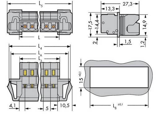 WAGO 231-612/114-000 Male header (standaard) 300 Totaal aantal polen 12 Rastermaat: 5 mm 25 stuks