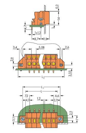 Veerkachtklemblok 2.5 mm² Aantal polen 7 FEEDTHROUGH T.B.W.SOLD.FLANGE 5,08MM WAGO Oranje 50 stuks