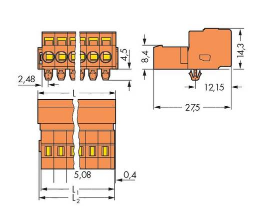 WAGO 231-654/018-000/035-000 Male header (standaard) 300 Totaal aantal polen 24 Rastermaat: 5.08 mm 10 stuks
