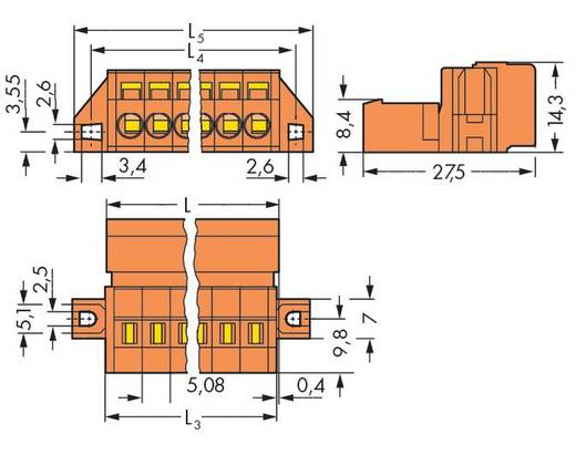 Male header (standaard) 300 Totaal aantal polen 5 WAGO 231-635/019-000 Rastermaat: 5.08 mm 50 stuks