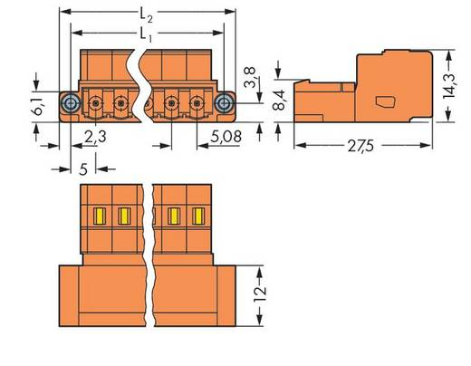 WAGO 231-635/109-000 Male header (standaard) 300 Totaal aantal polen 5 Rastermaat: 5.08 mm 50 stuks