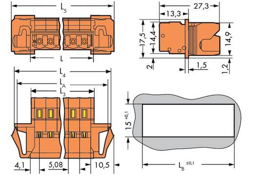 WAGO 231-644/114-000 Male header (standaard) 300 Totaal aantal polen 14 Rastermaat: 5.08 mm 25 stuks