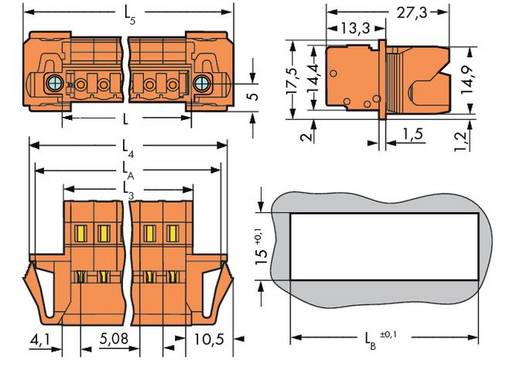 WAGO 231-638/129-000 Male header (standaard) 300 Totaal aantal polen 8 Rastermaat: 5.08 mm 25 stuks