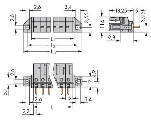 WAGO 232-136/031-000 Busbehuizing-board 232 Totaal aantal polen 6 Rastermaat: 5 mm 50 stuks