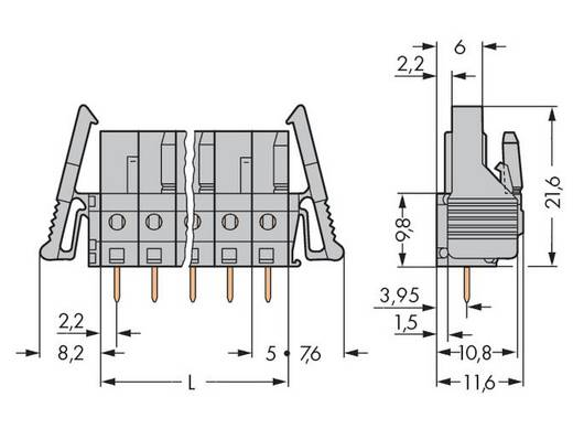 WAGO 232-134/039-000 Busbehuizing-board 232 Totaal aantal polen 4 Rastermaat: 5 mm 50 stuks