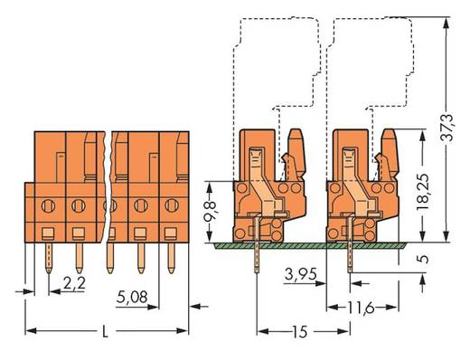 WAGO 232-164 Busbehuizing-board 232 Totaal aantal polen 4 Rastermaat: 5.08 mm 100 stuks