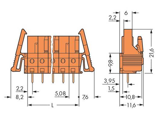 WAGO 232-162/039-000 Busbehuizing-board 232 Totaal aantal polen 2 Rastermaat: 5.08 mm 100 stuks