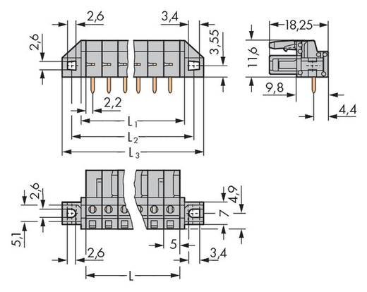 Busbehuizing-board 232 Totaal aantal polen 6 WAGO 232-236/031-000 Rastermaat: 5 mm 50 stuks